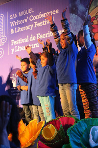 "The children of ""My First Book"" program sing at the San Miguel Writers' Conference"